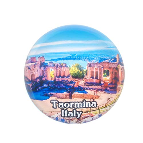 - Greek Theater Taormina Sicily Italy Fridge Magnet 3D Crystal Glass Tourist City Travel Souvenir Collection Gift Strong Refrigerator Sticker