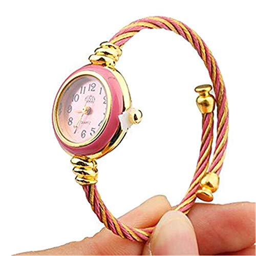 (Vavna Womens Ladies Girl 2 Tone Gold Silver Classic Twisted Band Bracelet Bangle Cuff Round Mini Wrist Watch (Gold Pink))