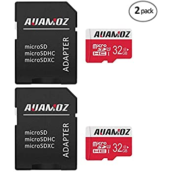 Micro SD Card 32GB, AUAMOZ Micro SDHC Class 10 UHS-I High Speed Memory Card for Phone,Tablet and PCs - with Adapter (Red-2 Pack)