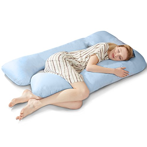 Puredown U Shaped Maternity/Pregnancy Body Pillow with Zippered Cover, 32'x56',Blue