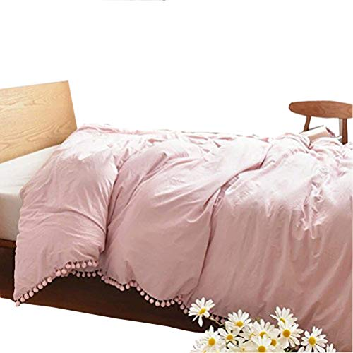 Pink Twin Duvet - Meaning4 Pom poms Fringe Cotton Duvet Cover Pink Twin Size 68 x 90inches