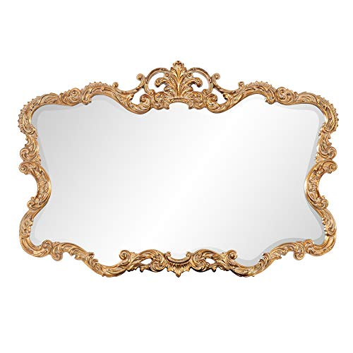 Howard Elliott Talida Mirror, Ornate Wall Focal Point, Resin Frame, Gold, 27 Inch x 38 Inch x 1 Inch ()