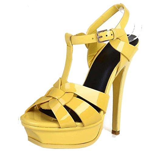 COOLCEPT Mujer Moda T-Strap Tacon de Aguja Sandalias Chic Plataforma Tacon alto Zapatos Amarillo