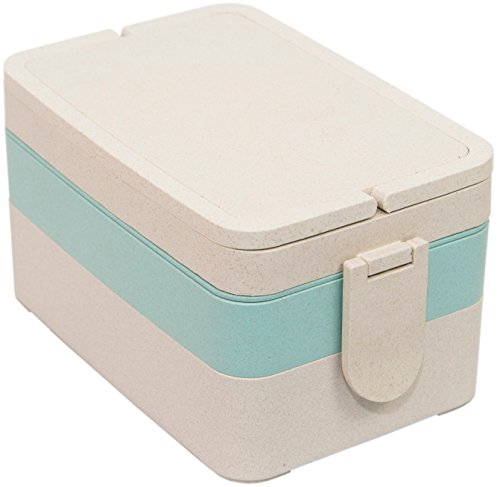 Natural Three Tier Wheat Fiber Bento Box - Stackable Storage Container for On-the-Go Lunch - Fork Spoon and Chopsticks Included - Microwave/Freezer Safe - Dishwasher safe (top rack) - Blue Accent