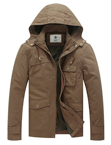 WenVen Men's Fall Hooded Cargo Jacket (Khaki, M)