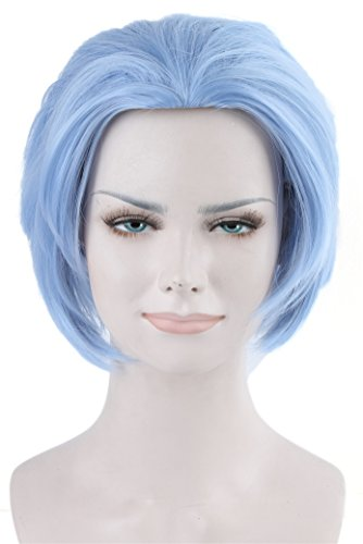 ATOZWIG Cosplay Wig Short Spiky Anime Show Party Costume Hair Wig (Sky Blue) (Spiky Blonde Wig)