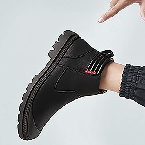 En De Montante Hiver Chaussure Xiguafr Fourrure Chaud Garde Homme Antidérapant Bottes Enfiler Pour Boots Au Automne Noir Cuir Neige Souple A 1qIqwTE
