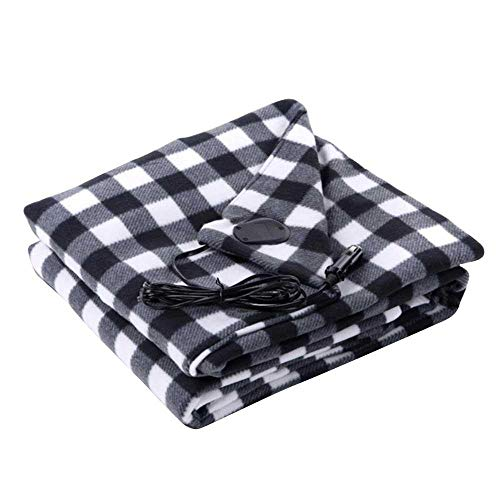 LAYOPO Plaid Electric Car Blanket,12V Heated Throw Blanket Fleece Home and Camping Blanket for Car/Truck/Boat ()