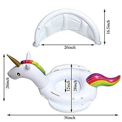 Viyor shop Baby Pool Float with Canopy Unicorn Inflatable Swimming Ring with Safety Seat for Baby Girls Boys Toddlers 2-6 Years (Unicorn): Toys & Games
