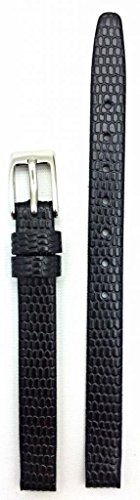 8mm Black, Flat, Elegant Genuine Leather Watch Band | Round Lizard Grain Replacement Wrist Strap That Brings New Life to Any Watch (Womens Standard Length)