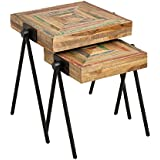 Cape Craftsmen Square Teak Nested Side Tables, Set of 2