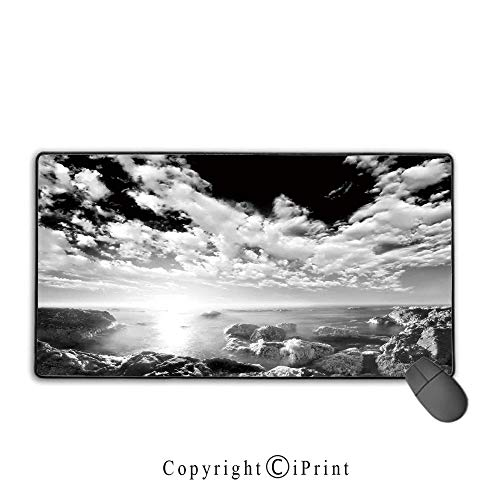 Game Speed Version Medium Cloth Mouse pad,Black and White,New York Skyscrapers Skyline Black and White Rooftop View Manhattan Midtown Print,Grey,Ideal for Desk Cover, Computer Keyboard, PC and -