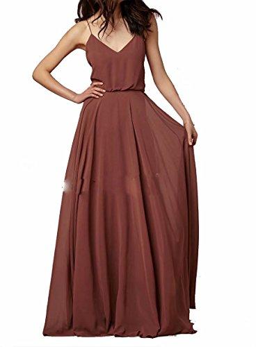 0f2bfaf6f15 ... Women s Boho Chiffon Long Bridesmaid Dresses Spaghetti Straps Wedding  Party Dresses Bohemian Maid of Honor Gowns Rust Red US2.   
