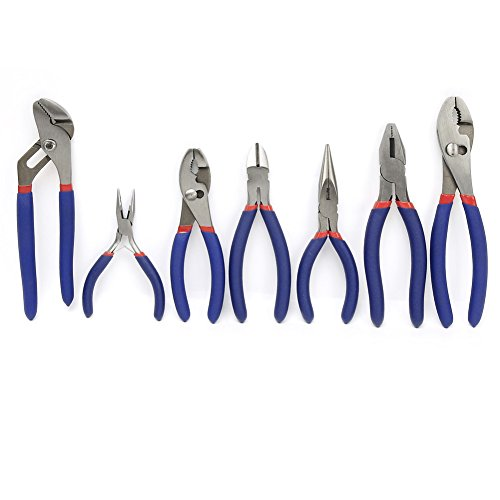 WORKPRO 7-piece Pliers Set (8'' Groove Joint Pliers, 6'' Long Nose, 6'' Slip Joint, 7'' Linesman, 8'' Slip Joint) by WORKPRO