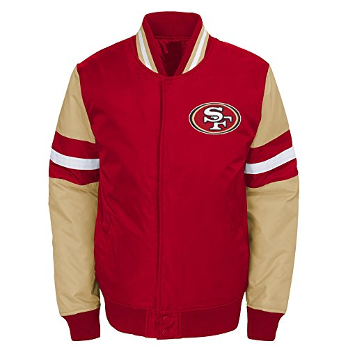(Outerstuff NFL San Francisco 49ers Youth Boys Legendary Color Blocked Varsity Jacket Crimson, Youth X-Large(18))