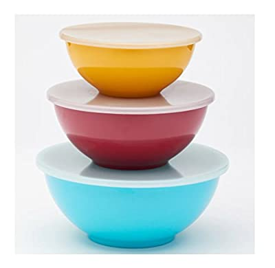 Food Network 3-piece Nesting Melamine Mixing Bowl Set with Lids