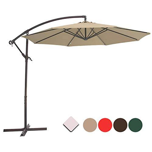 Cantilever Patio Umbrella - SUNNYARD 10 Ft Cantilever Patio Umbrella Outdoor Offset Hanging Umbrella, 8 Ribs, Taupe
