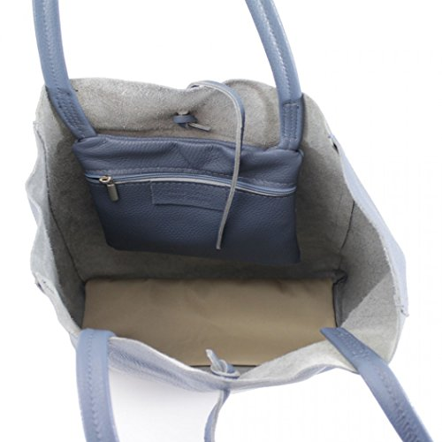 Real Women's Bags Shoulder Blue Handbag LeahWard Shopper Leather 102 5PcHnwZR