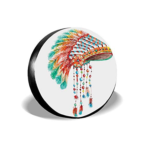 Jackie Prout ss American Watercolor Tribal Native Chief Headdress Feathers Beads Arrow Figures Print Orange Blue Spare Wheel Tire Cover Fit for Jeep,Trailer, RV, SUV and Many Vehicle 14