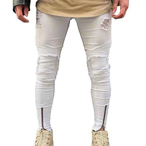 Confortevole Skinny Nero Jeans Colori Slim Fit 5 38 Fori Denim Stretch Uomo Juleya Elastico Distrutti 28 WvqawfSw