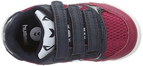 Hummel Root Velcro Jr, Zapatillas Deportivas para Interior Unisex Niños Rojo (Sangria)