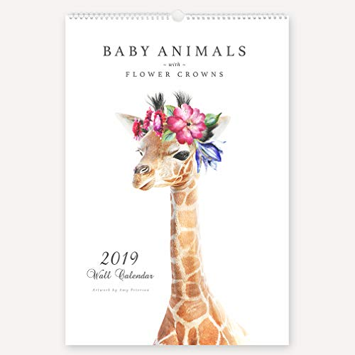The Art Studio by Amy Peterson 2019 Wall Calendar Baby Animals with Flower Crowns - 12-Months Full Squares - All Major Holidays - 12x18 inches ()