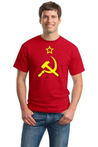 USSR HAMMER & SICKLE FLAG Unisex T-shirt / Soviet Union, Communist Russia Costume Tee-Red-Large
