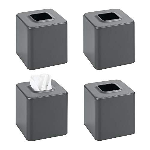 mDesign Modern Square Metal Paper Facial Tissue Box Cover Holder for Bathroom Vanity Countertops, Bedroom Dressers, Night Stands, Desks and Tables, 4 Pack - Matte Slate/Gray
