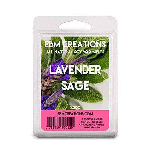 Lavender Sage - Scented All Natural Soy Wax Melts - 6 Cube Clamshell 3.2oz Highly Scented!