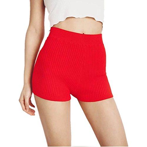 per donna Rosso shorts a alta Pantaloncini Sexy spiaggia casual Oudan l'estate vita skinny da qHAPtB