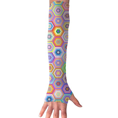 HBSUN FL Unisex Abstrac Colorful Hexagon Pattern Anti-UV Cuff Sunscreen Glove Outdoor Sport Riding Bicycles Half Refers Arm Sleeves by HBSUN FL