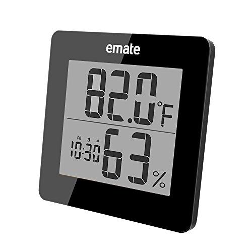 Digitaler Thermometer mit Hygrometer, Hygrometer Luftfeuchtigkeit, Raum Thermometer mit Extra Großem LCD Display und Weckalarm mit Snooze-Funktion