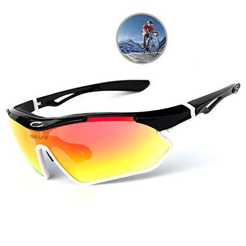 Sports Sunglasses Polarized Men Women uv400 Cycling Sunglasses Running Driving Fishing Golf Baseball TR 90 Superlight Frame (Black White Frame+Red Lens)