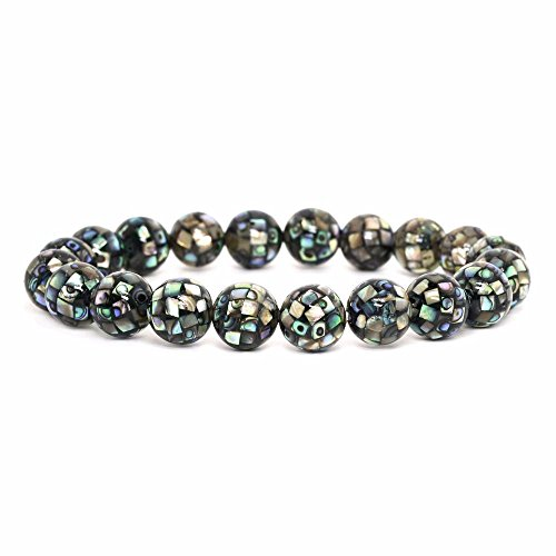 Justinstones Natural Mosaic Abalone Shell Gemstone 10mm Round Beads Stretch Bracelet 7