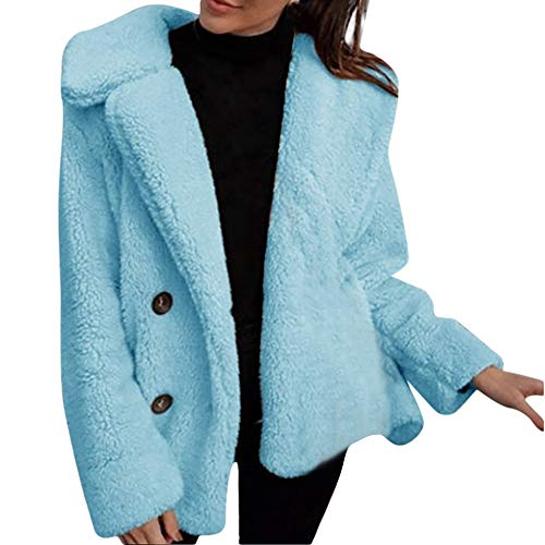 - WOCACHI Winter Womens Faux Coat Fuzzy Shearling Outerwear Open Front Warm Overcoat Warm Autumn Trench Coats Pea Coats Sweaters Sweatshirts (Blue, Large)