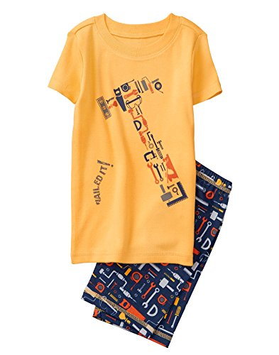 Gymboree Boys' Toddler 2-Piece Short Sleeve Tight Fit Pajama Set, Sunny Orange, 3 from Gymboree