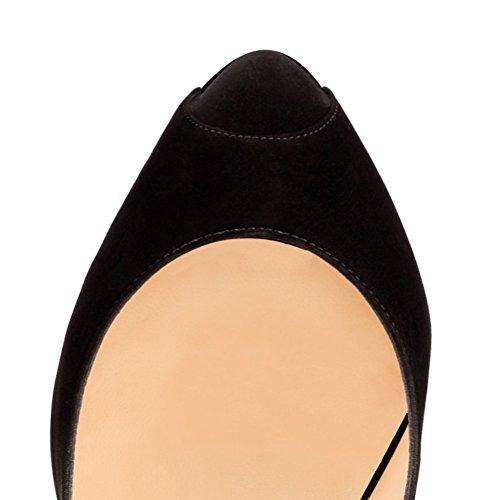femme compensées Samt Schwarz MONICOCO chaussures OPqawgaA