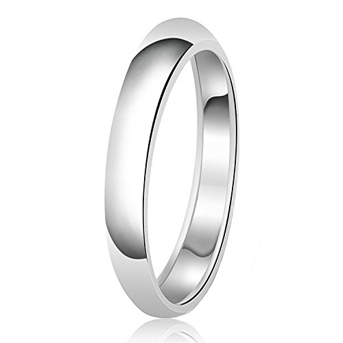- 3mm Classic Sterling Silver Plain Wedding Band Ring, Size 7