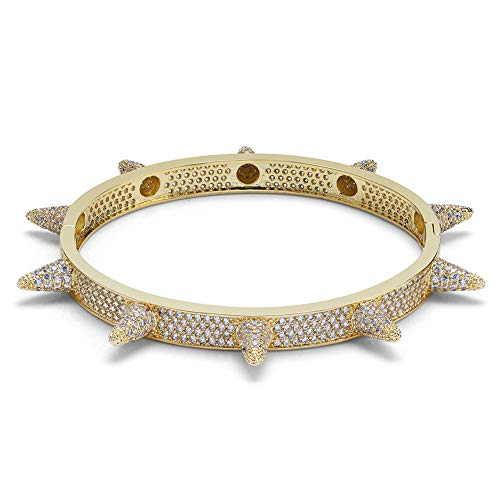 JINAO Lab Simulated Diamond Iced Out Spikes Cuff Bangle Bracelet ()