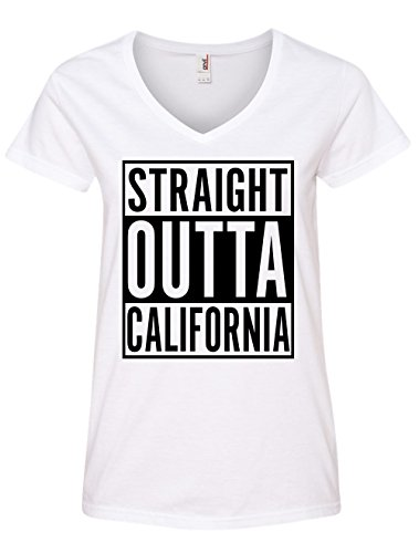 Womens V-neck California T-shirt (Tenacitee Women's Straight Outta California V Neck T-Shirt, 2X-Large, White)