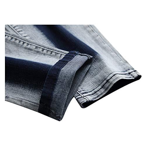 Bicolore Élastique Blancs Minceur 41 3 Eu Minces Pour taille 1 Pantalons Uiophjkl Jeans Hommes Brodé Droite qFgxXU1w