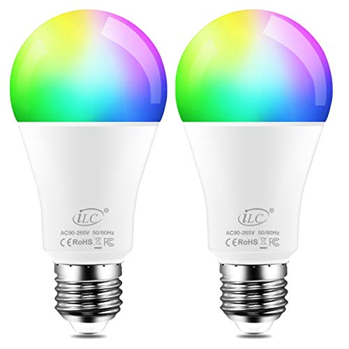 Color Light Bulbs (iLC Color Changing LED Light Bulb 8W RGBW Controlled by APP, Sync to Music, Dimmable RGB Multi-Color 60 Watt Equivalent E26 Edison Screw (2)