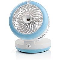 Pojazia Portable Fan USB Mini Desktop Desk Table Electric Rechargeable Humidifier Misting Fan for laptop room office outdoor travel (Blue)