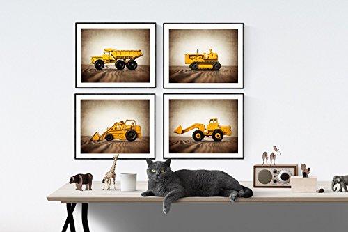 Vintage Truck Tractor Themed Wall art for boys, Set of 4 UNFRAMED Photos or Canvas multiple sizes available, Boys Nursery Decor,