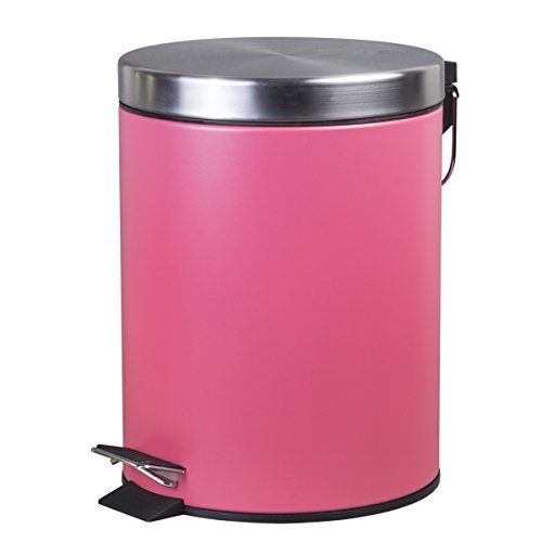 Creative Home Coating Finished Round Step Trash Can, 5 L, Pink (Pink Trash Can With Lid)