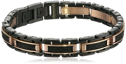 Men's Two-tone Stainless Steel Black Cable Inlay Bracelet