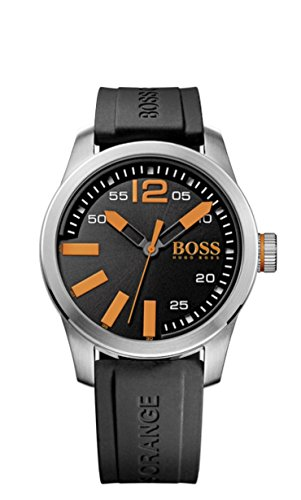 Hugo Boss Men's Boss Orange Paris Black Silicone Strap Watch, 1513059
