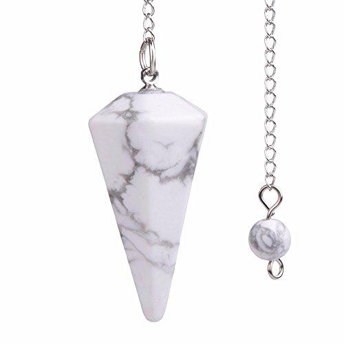 - Justinstones Natural White Howlite Gemstone Rock Crystal Hexagonal Pointed Reiki Chakra Pendant Pendulum