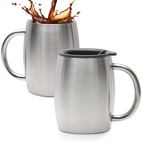 Stainless Steel Coffee Mug With Lid Set Of 2 - Double Wall Insulated Coffee Mugs - 14 Oz Stainless Steel Coffee Cups - Perfect For Hot & Cold (2 Coffee Cups Mug)