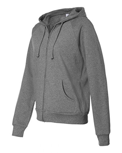 Bella 7007 Womens Fleece Full-Zip Raglan Hoodie - Deep Heather, 2XL